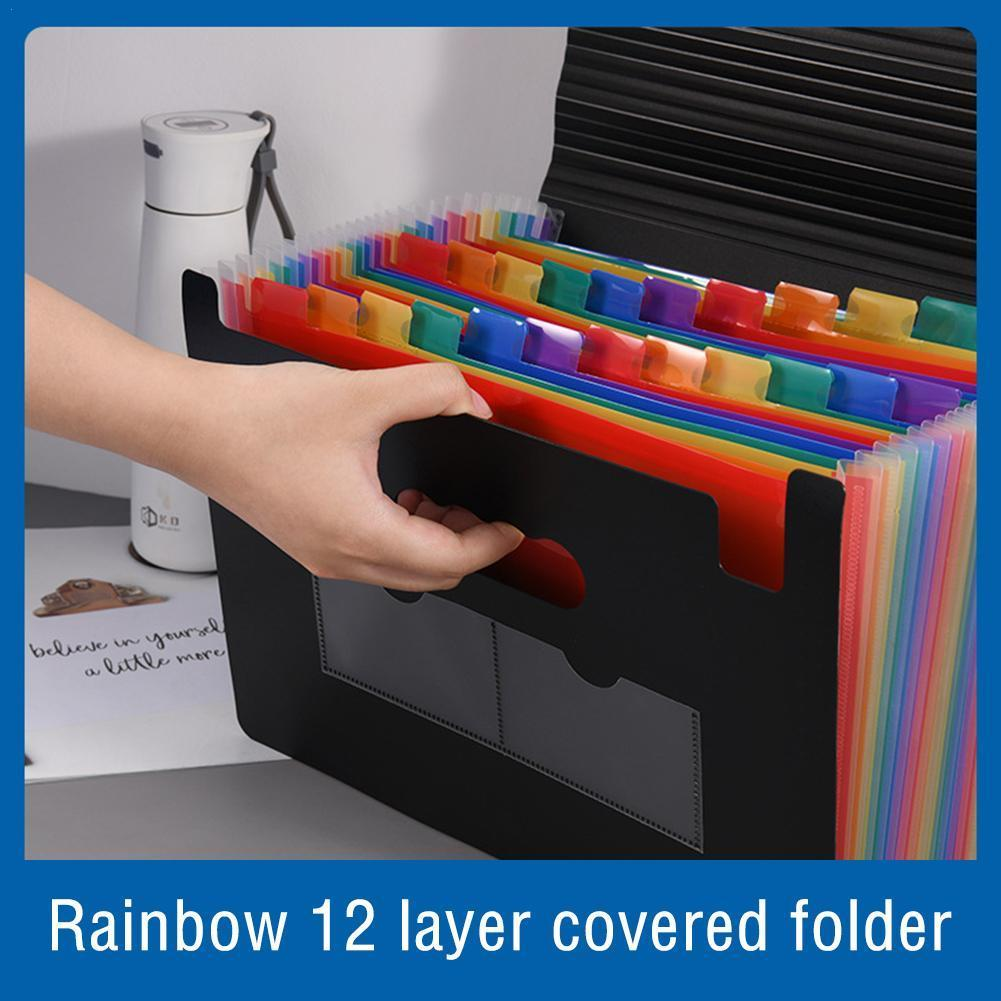 A4 Rainbow Color 12-layer Folder with Lid Expandable File Folder Organ Bag Pocket Document Waterproof Stand Office Organizer