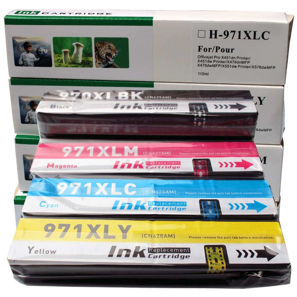 Cartucho de impresora de HP970 HP971 XL para impresora HP Officejet Pro X576DW X476DW X451DW X451DN tinta de impresora