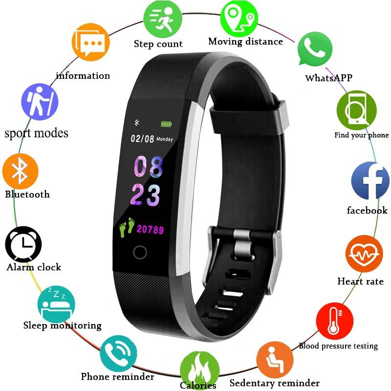 115 Plus Waterproof Smartwatch Sport Smart Bracelet Heart Rate Blood Pressure Monitor Fitness Watch