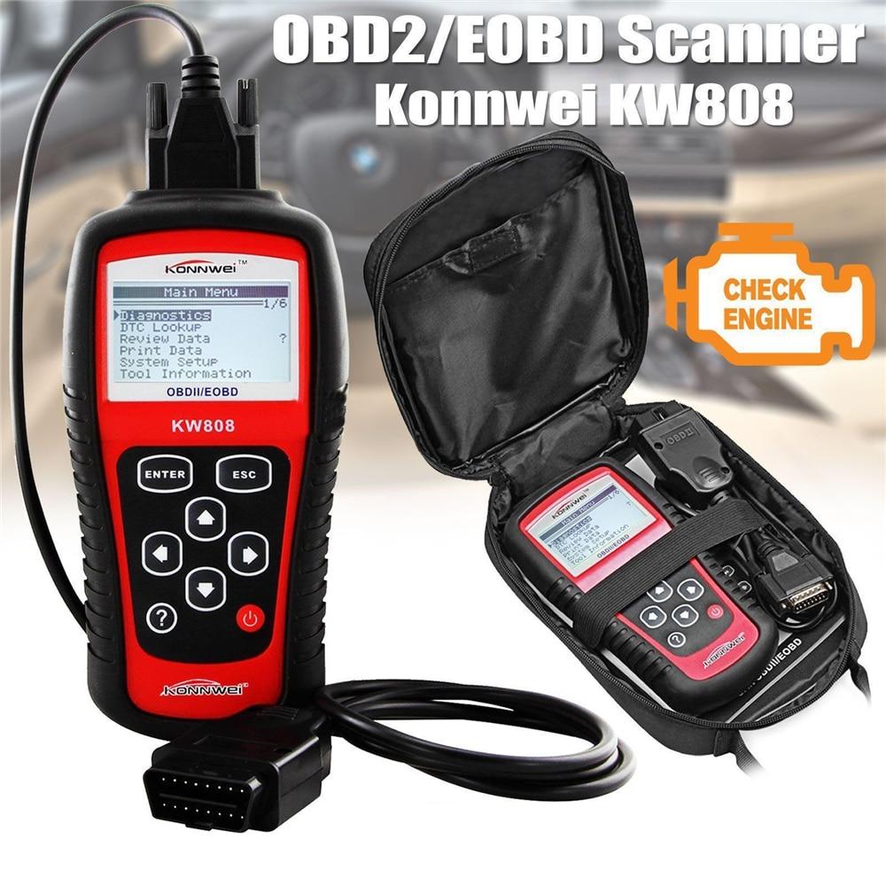 Original KONNWEI KW808 OBD Car Scanner OBD2 Auto automotive Diagnostic Scanner Tool Supports  J1850 Engine Fualt Code Reader dfd konnwei