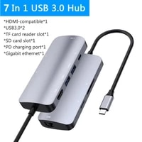 multi port usb c adapter usb c hub type c 3 0 to 4k hdmi compatible usb sd card fast charge 7 in 1 usb dock for macbook laptop