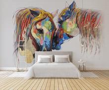 [Self-Adhesive] 3D Cartoon Horse WG621 Wall Paper mural Wall Print Decal Wall Murals Belly