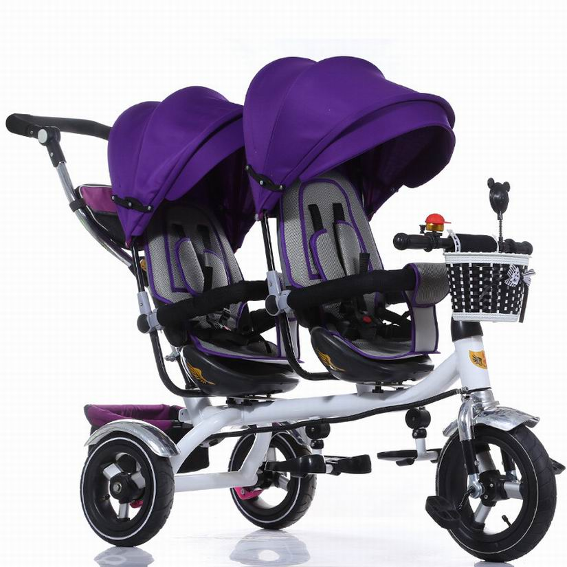New arrival Child stroller good quality Twins child tricycle bike double seat tricycle trolley baby bike for 6 months to 6 years