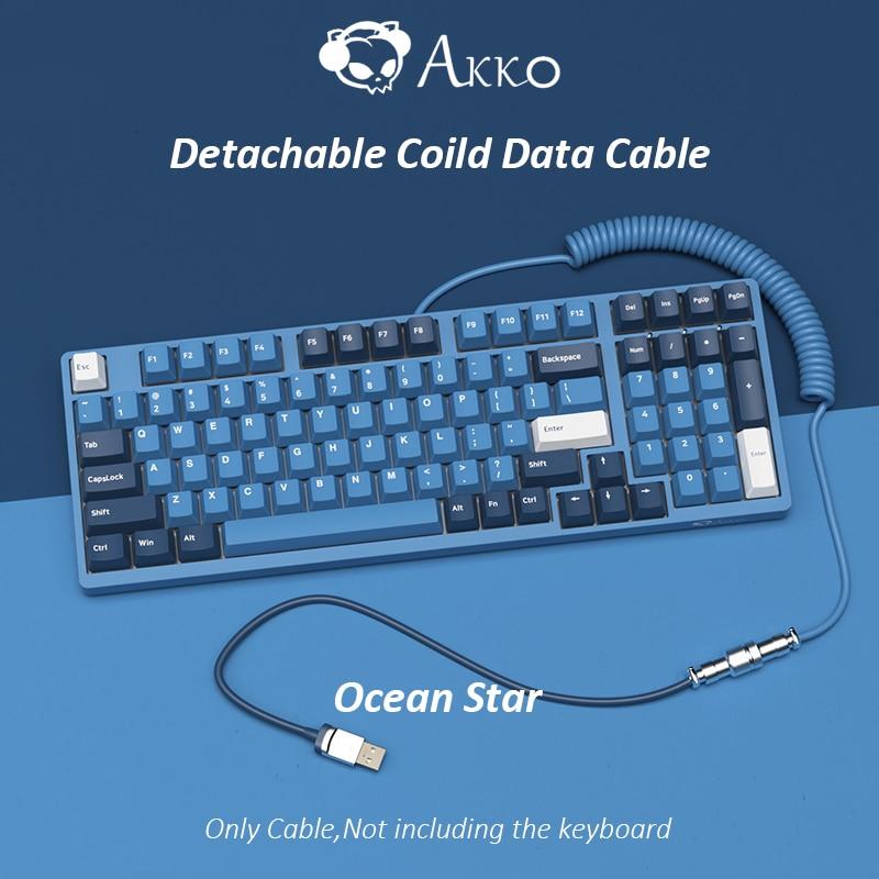 AKKO المحيط ستار مخصصة لتقوم بها بنفسك انفصال ملفوف كابل للوحة المفاتيح الميكانيكية نوع-C إلى موصل USB