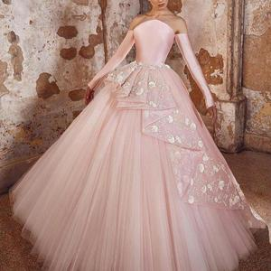 pink evening dresses 2021 lace applique strapless neckline tulle ball gown pink long prom dresses