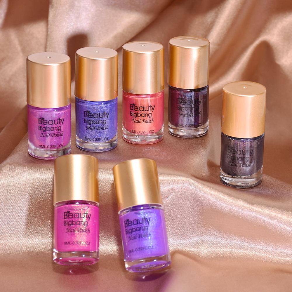 Beautybigbang 9ml temperatura Color Chang violeta Rosa brillo esmalte de uñas laca térmica arte de uñas 8 colores cambiar esmalte de uñas
