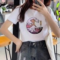 women t shirt aesthetic tshirts great wave and sunrise printed short sleeve casual white top tee female harajuku t shirts woman
