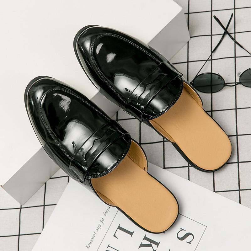 الجلود النعال الرجال الأحذية الشاطئ الصنادل الرجال Zapatos دي لوس Hombres Zapatillas الصلبة الأسود البغل الأزياء والأحذية الشاطئ الشرائح
