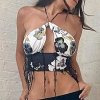camis floral printed hollow out off shoulder backless bralette lace up halter top tassel patvhwork sexy fashion street