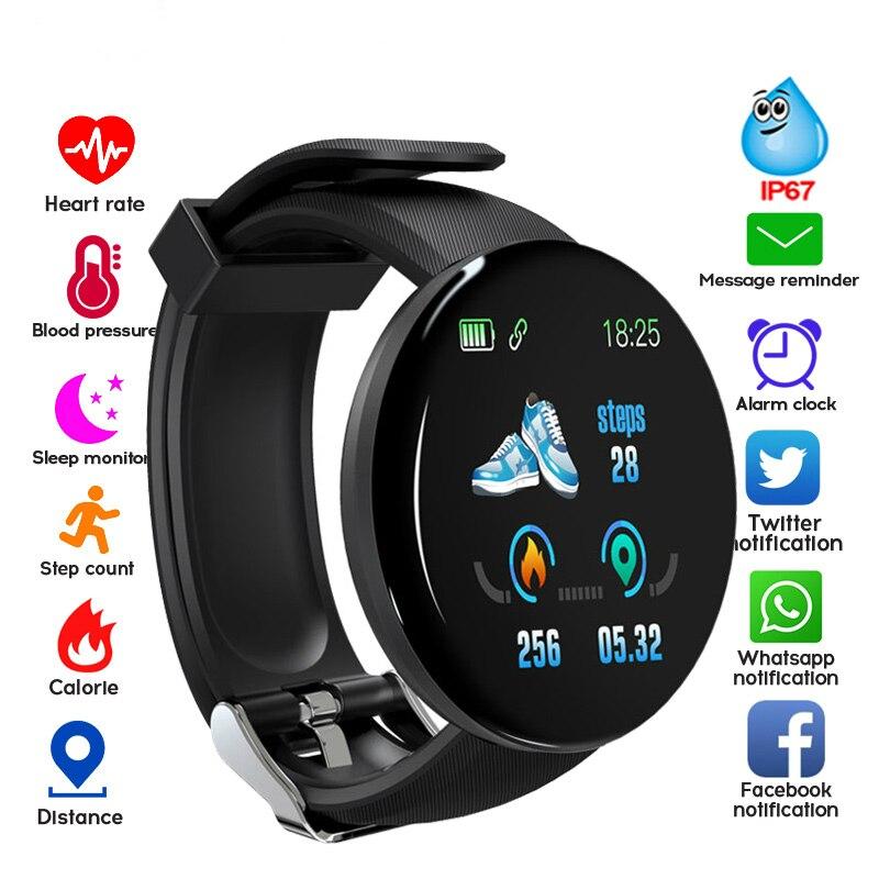 Reloj inteligente con Bluetooth 2019 D18, Monitor de presión arterial, Monitor de ritmo cardíaco, reloj inteligente IP67 para hombres y mujeres, resistente al agua, para Fitness