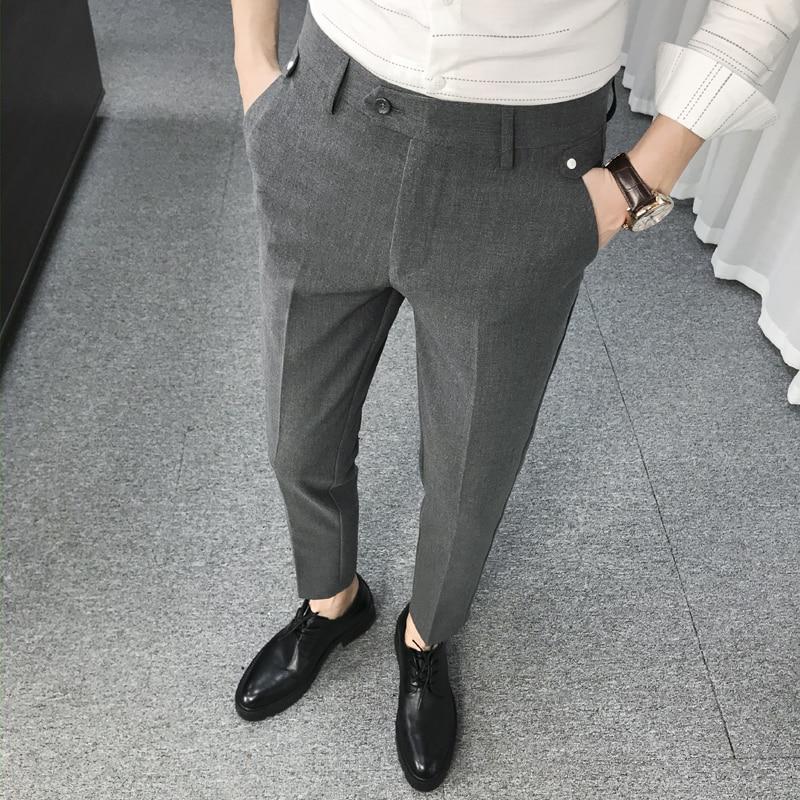 Grey Pants Mens Trousers Formal Stretch Pants Mens Elegant Suit Pants Mens Office Trousers Black Slim Fit Trousers Social Club