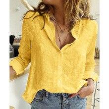 Rebeca holgada de manga larga para Mujer, camisa de gran tamaño con botones y solapa, color blanco y amarillo, para otoño