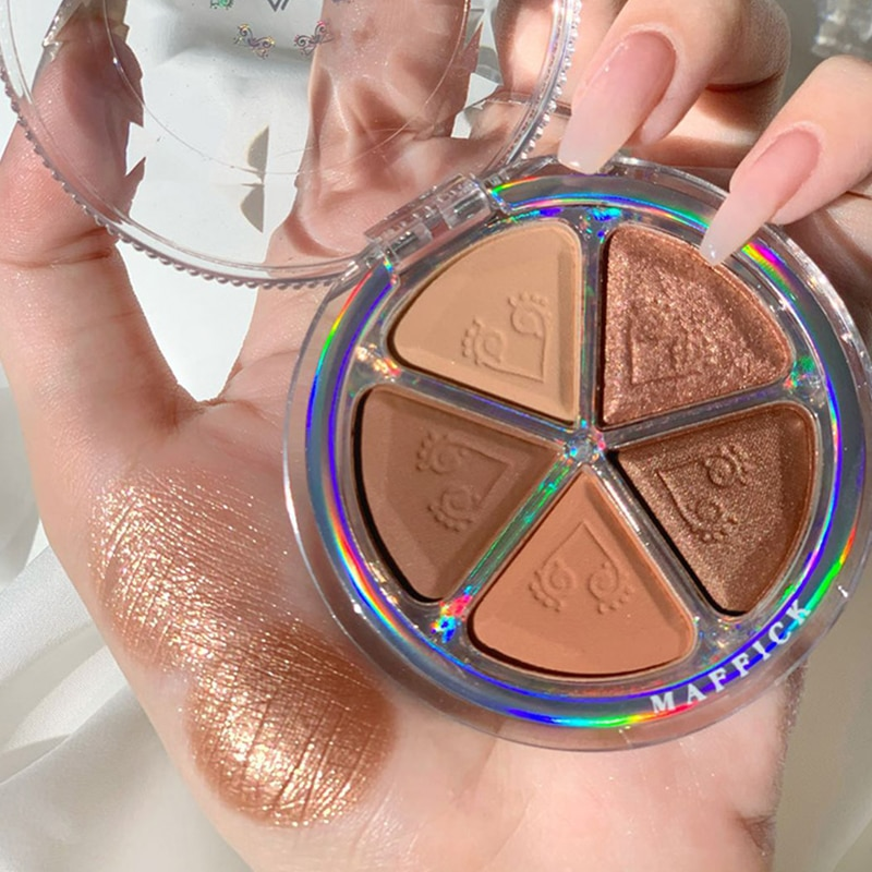 5color Petal Eye Shadow Palette Beauty Shimmer Matte Pearlescent Eyeshadow Blush Powder Palte Lastin