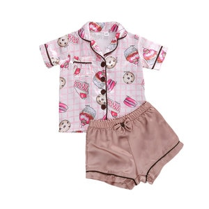 Printed Short-sleeved Pajamas Cute Cookie Pattern Comfy Shorts Cotton Sleepwear Unisex Infant Solid Color Button Ribbed Nighty