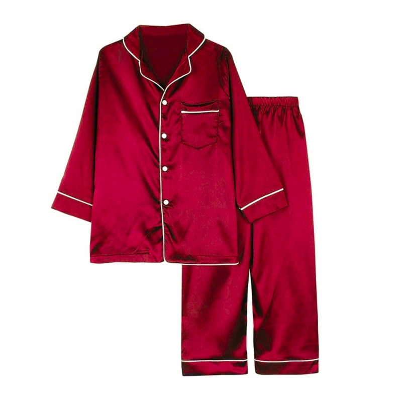 Spring Summer Long-sleeved Trousers Girls Boys Pajamas Suit Simple Style Silk Long Children Home Wearing Clothes