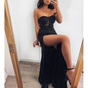Women Sexy Lace Maxi Party Evening Dress Strapless Off Shoulder Splits High Waist Black Floor Length Dress