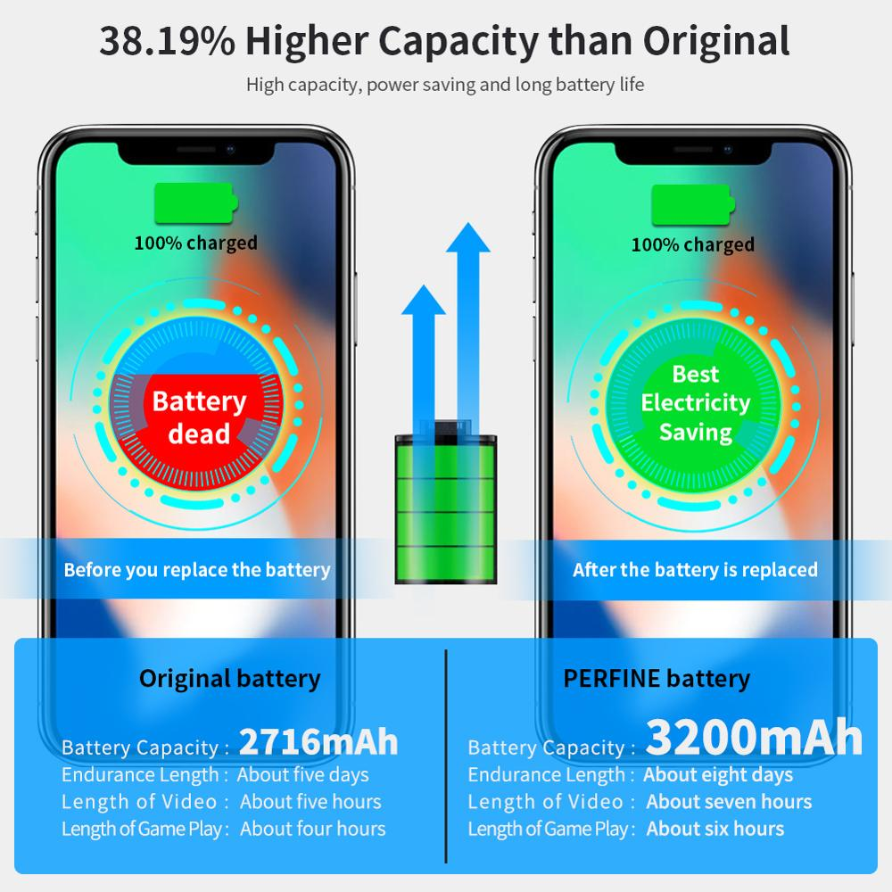 Perfine Battery For iPhone X 3200mAh High Capacity Replacement Li-Polymer Bateria with Free Repair Tools Kit Case USB L Cable enlarge