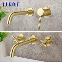 JIENI robinet mitigeur chaud et froid en laiton massif  robinet de baignoire dore de luxe de lavabo de salle de bains mural brosse