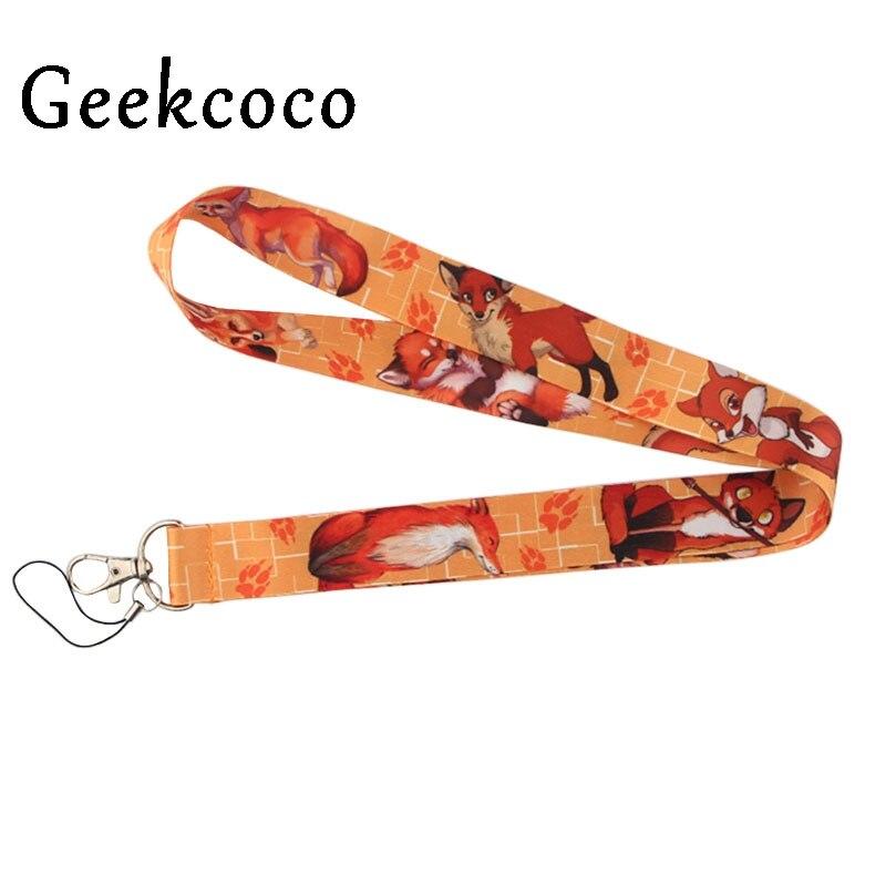 Cartoon fox animal Lanyard Mobile Phone Key Card Identification Straps USB Badges Holder Hanging DIY Cord for kids women J0499