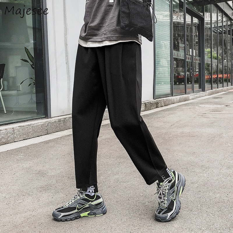 Men Pants Streetwear Korean Style High Fashion Black Casual Solid Simple All Match Mens Plus Size Ankle-length Sweatpants Chic