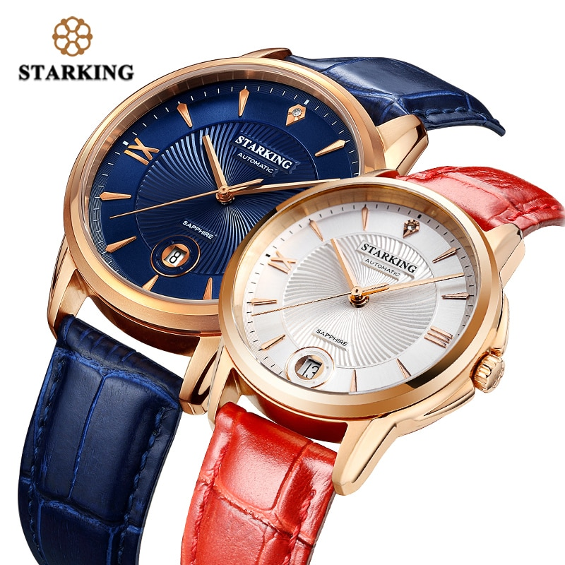 STARKING Couple Watches Ladies Mens Automatic Self-wind Sapphire Glass Wristwatch for Lover Wedding Gift Relogio 50M Waterproof