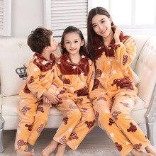 Pijamas-pyjamas flanelle pour enfants   Vêtements chauds, en flanelle, pour famille, vêtements dautomne et dhiver, tenue de loisir, pour suite, collection automne et hiver