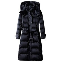 Women's Long Lace-up Hooded Down Jacket Zipper Puffer Black red dark blue plus size 4XL10XL  Coat