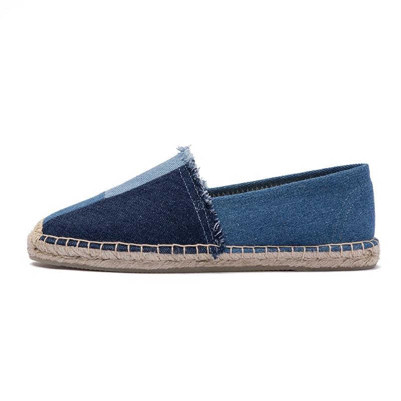 Женские эспадрильи из джинсовой ткани, повседневные льняные туфли на плоской подошве, с мультяшным рисунком, лето 2021