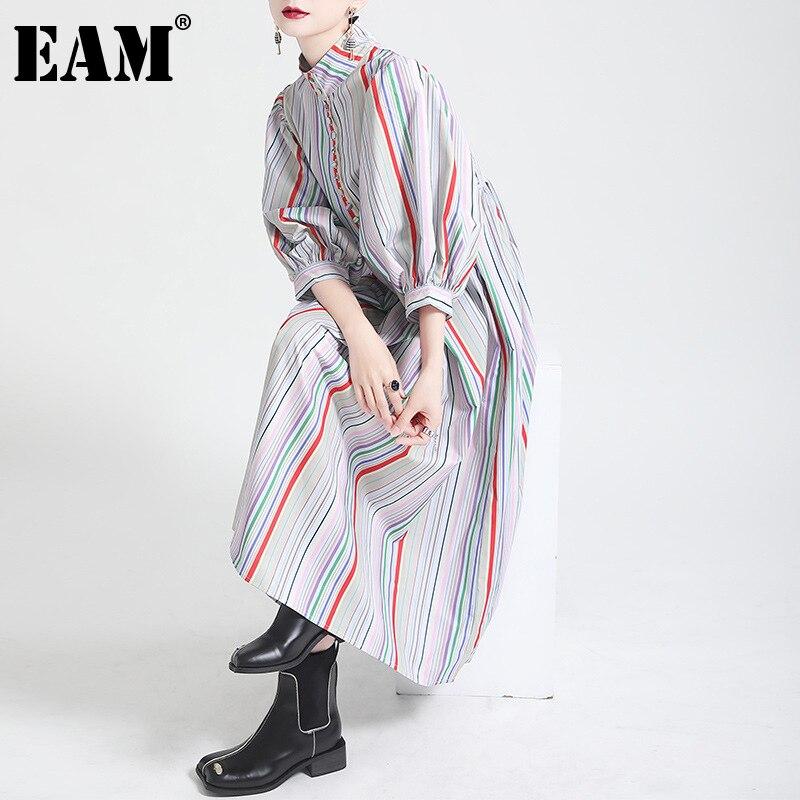 [EAM] فستان نسائي مخطط طويل مخطط جديد بياقة واقفة ثلاثة أرباع كم فضفاض مناسب لربيع وخريف 2021 1DE0219