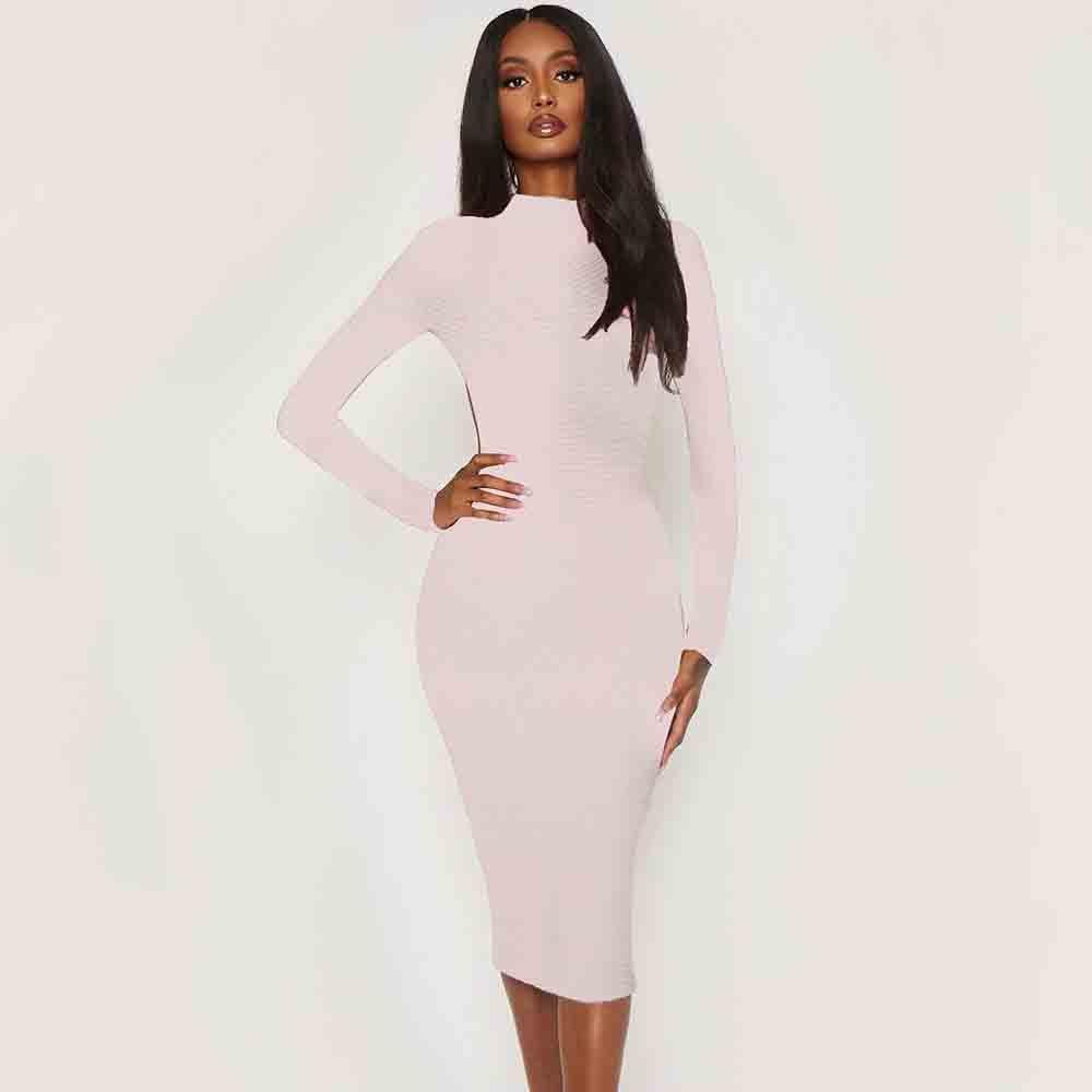 Женское облегающее платье с длинным рукавом Ocstrade, бежевое облегающее вечернее Клубное платье с вырезом, вечерние платья 2020