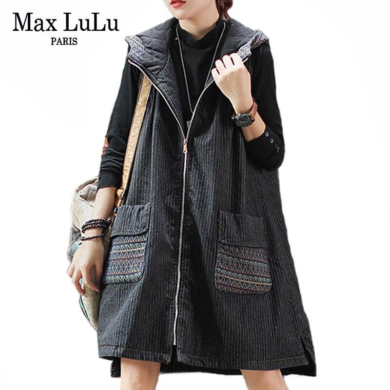 ماكس اللولو جديد 2019 الشتاء الكورية أزياء السيدات خمر مقنعين سترات إمرأة الدنيم طويلة معاطف المتضخم القطن مبطن الصدريات