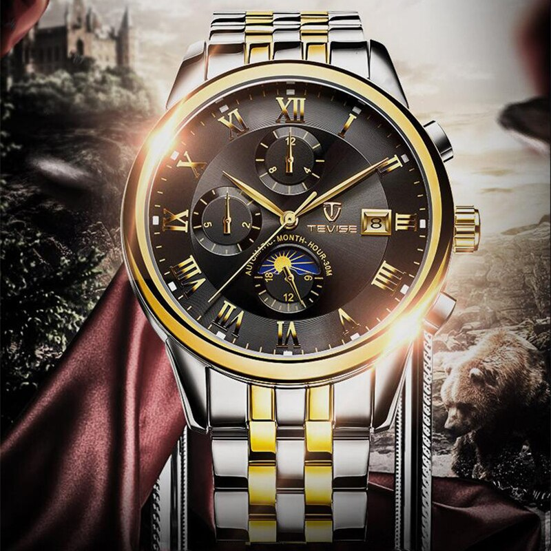 Luxury Waterproof Automatic Men Mechanical Watch Auto Date Full Steel Business Top Brand Man Moon Ph