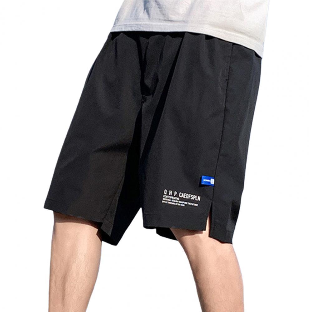 letter print split side night dress Men Shorts Knee Length Letter Print Mid Waist Drawstring Wide Leg Side Split Fitness Loose Shorts Streetwear