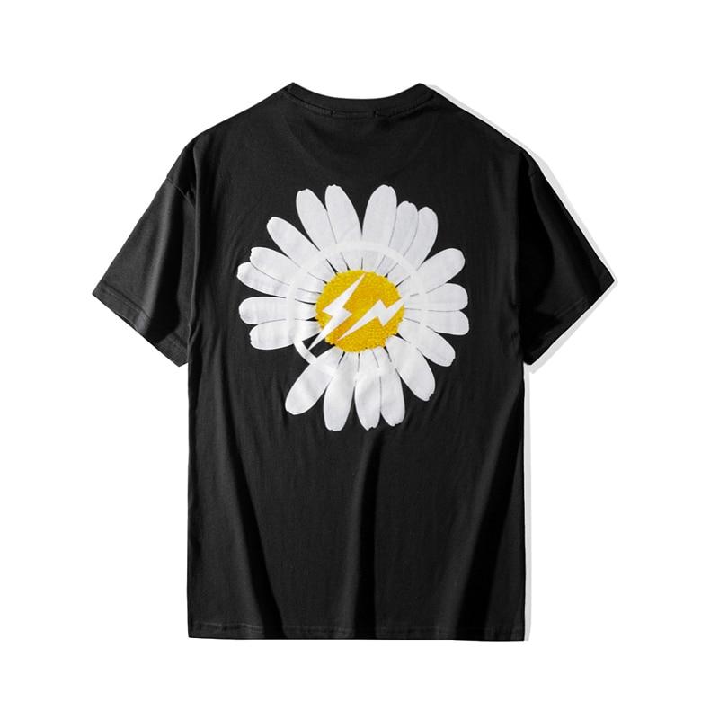 Nueva camiseta de manga corta de crisantemo de verano para hombres, Camiseta de algodón con estampado Casual de marca de hip hop de moda de marca de moda