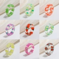 colorful fruit pattern acrylic rings for women girls flower lemon strawberry resin thick transparent ring jewelry summer gift