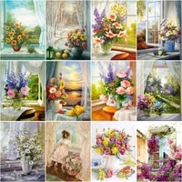 ruopoty frame diy painting by numbers window flower drawing coloring by numbers modern wall art picutre handmade artwork