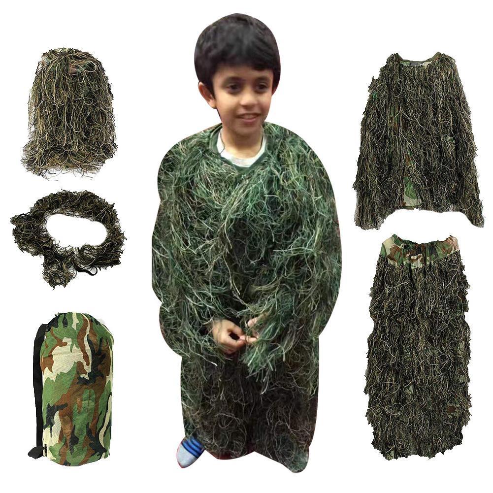 Traje Ghillie para niños, caza al aire libre, Camuflaje, bosque, hierba, uniforme, ropa, conjunto, traje de la selva, entrenamiento CS