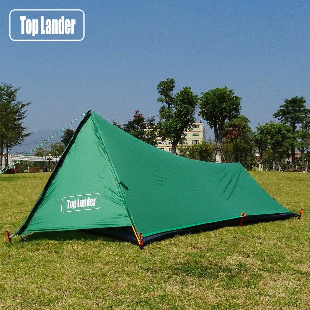 Uma torre ultraleve tenda 1 pessoa à prova dwaterproof água barraca de acampamento caminhadas montanha mochila único bivvy tenda 20d silicone um homem tenda