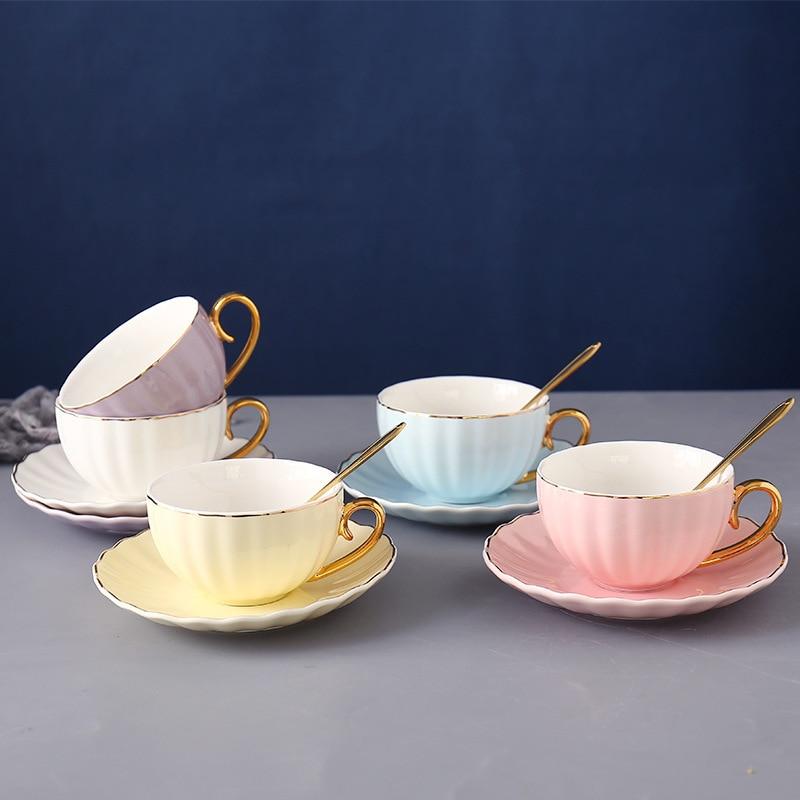 Chá da tarde europeu filtro cerâmica xícara de café pires inglês phnom penh flor dourada bardak asse um café caneca de café e5