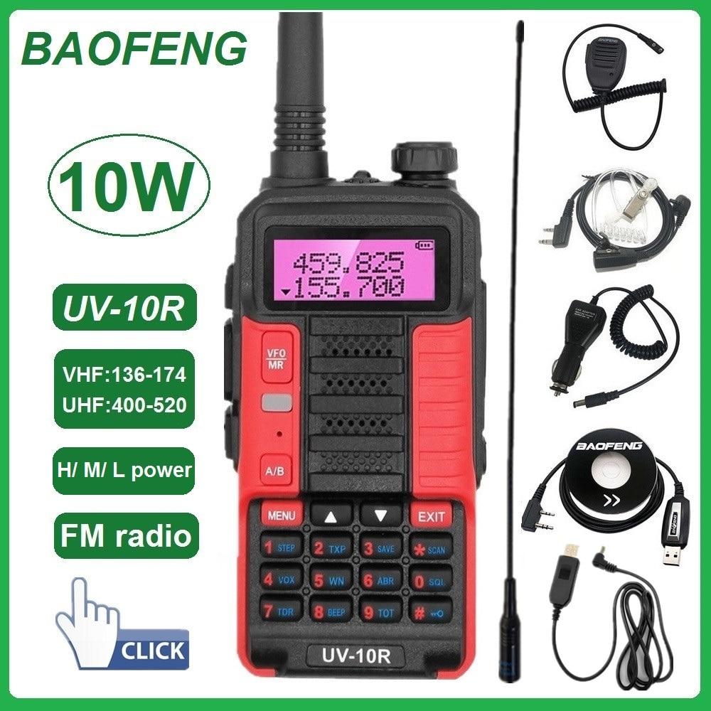 Baofeng Walkie Talkie 10W UV-10R Tragbare CB Radio Station VHF UHF Scanner Radio Ham Transceiver USB Lade 2021 Neue UV-5R