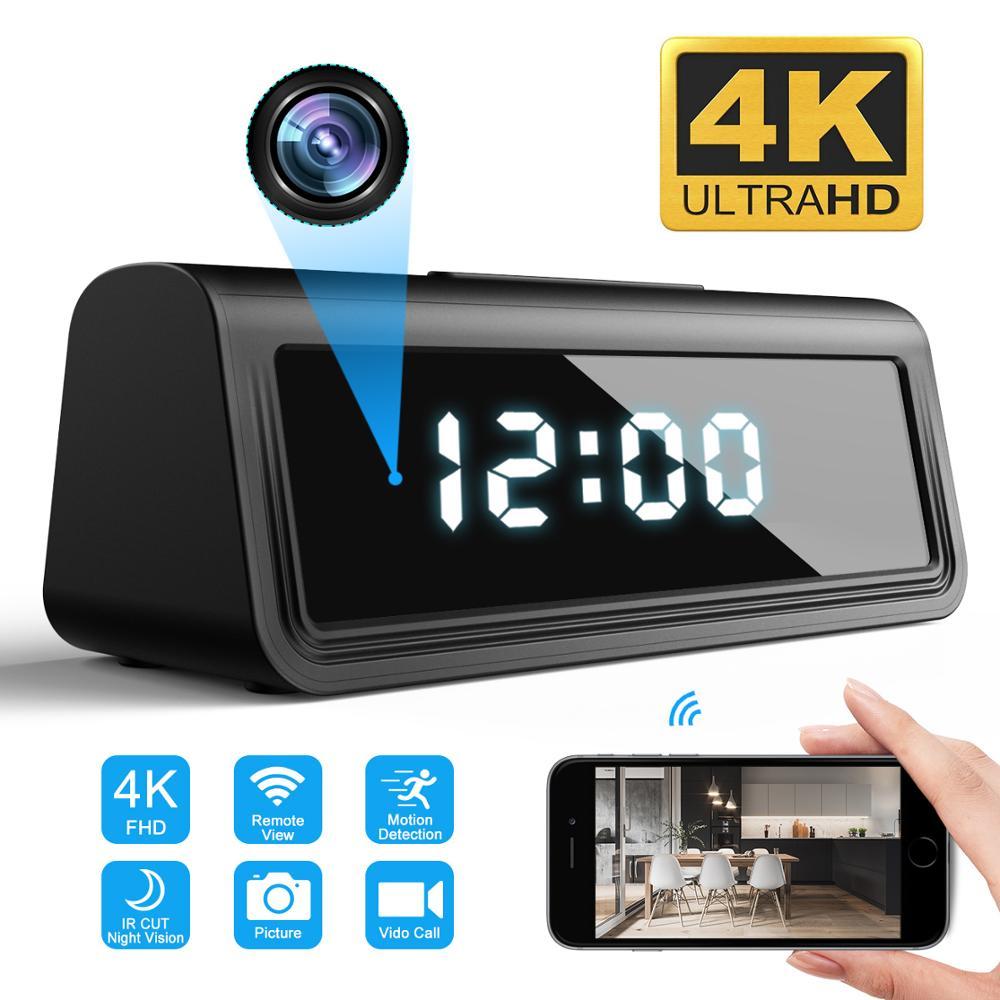 4K Clock Camera Wireless WIFI Micro Cam IR Night View Alarm Camcorder Digital Video Mini DVR Hidden TF Card