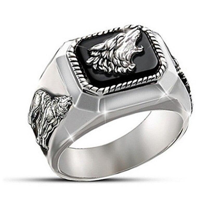 Exquisitos anillos de Arte Moderno hechos a mano con diseño de lobo para hombre