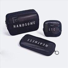 1PCS Women Men Necessary Cosmetic Bag Transparent Travel Organizer Fashion Small Large Black Toiletr