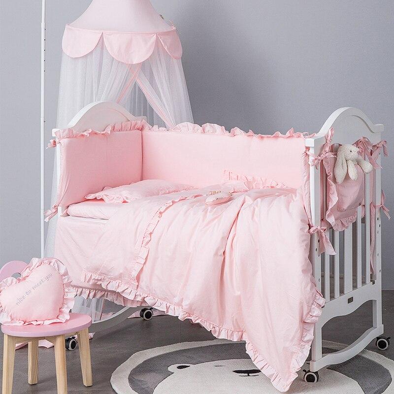 طقم سرير الطفل القطن الوليد حامي قابل للغسل سرير الوفير الرضع المهد الدانتيل حاف الغطاء المخدة أغطية الفراش طقم سرير