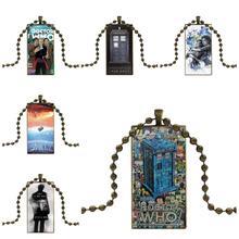 Dla miłośników dziewczyna przyjaciel najlepszy prezent jestem doktor Who Dw Tardis projekt moda szkło vintage kobiety prostokąt naszyjnik wisiorki