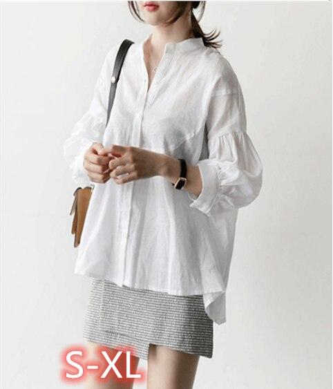 صيف الخريف النساء البلوزات الوقوف طوق فانوس كم عادية المألوف واحدة الصدر قمصان مكتب القمم