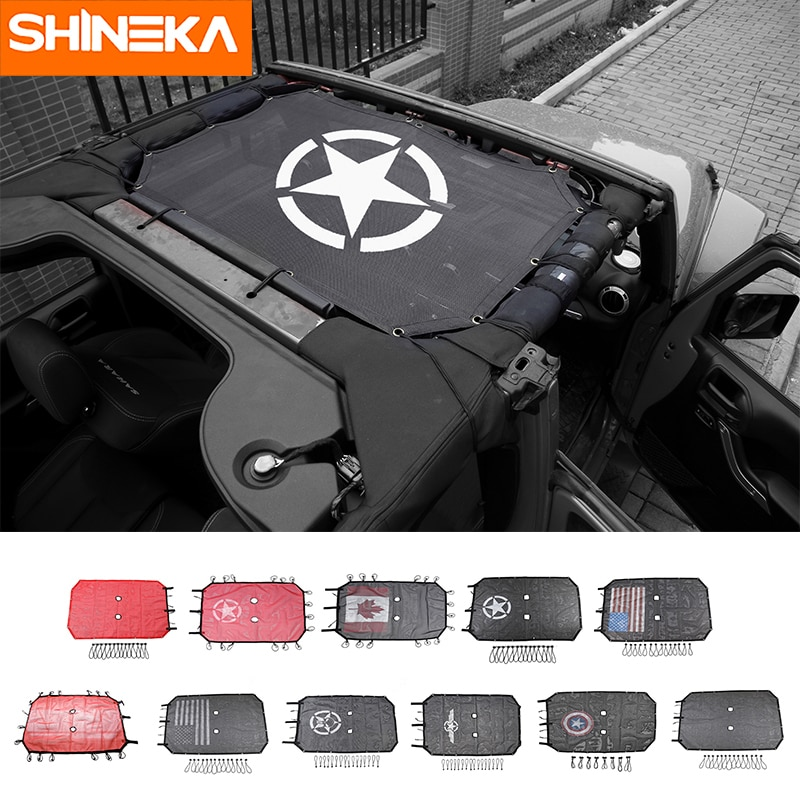 AliExpress - SHINEKA Car Top Sunshade Cover Roof UV Proof Protection Net for Jeep Wrangler JK 2 Door and 4 Door Car Accessories Styling