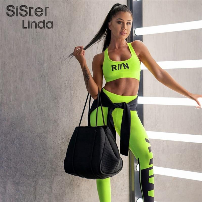 Conjunto de dos piezas de chándal de Fitness para mujer, conjunto de ropa deportiva de neón, sujetador sin mangas, ajustado, de cintura alta, conjunto de mallas, chándal Mujer