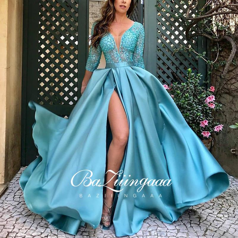 BAZIIINGAAA Luxury 2021 Party Elegant Woman Evening Gown Plus Size Slim Printed Long Evening Dresses Suitable for Formal Parties
