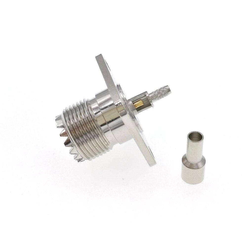 50 Uds UHF hembra Jack SO239 brida 4 agujero Panel montaje engarce RG316 RG174 LMR100 RF conector